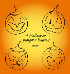 four cute pumpkin lanterns in for halloween vector image