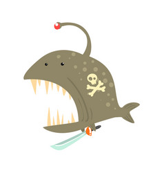 funny cartoon angler fish with pirate sign on its vector image