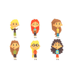 funny school girls cartoon characters with various vector image