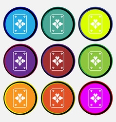 game cards icon sign Nine multi colored round vector image