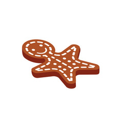 gingerbread man winter character cookie ginger vector image