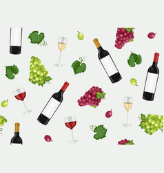 grape bunch seamless pattern with red white wine vector image