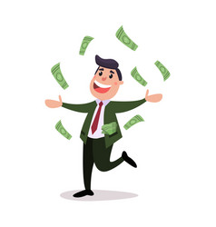 Happy businessman character running under money vector