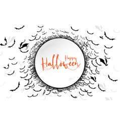 happy halloween lettering with circle space vector image