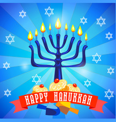 happy hanukkah concept background cartoon style vector image