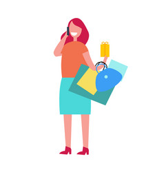 happy shopping woman on white vector image