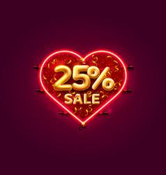 Heart sale 25 off ballon number on white vector
