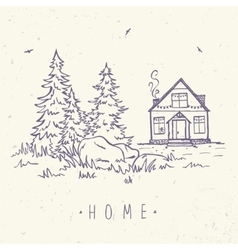 house and spruce vector image