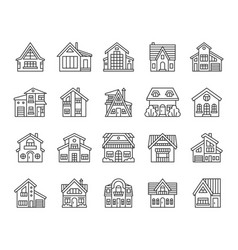 house simple black line icons set vector image