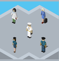 isometric people set of hostess officer doctor vector image