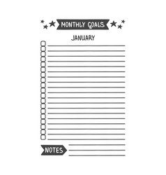 January monthly goals template vector
