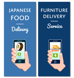 japanese food and furniture delivery flyers vector image