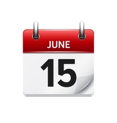 June 15 flat daily calendar icon Date vector