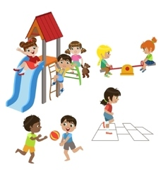 Kids Playing Outdoors Set vector