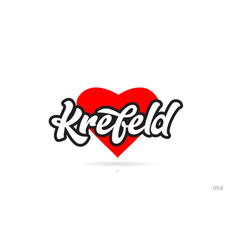 Krefeld city design typography with red heart vector