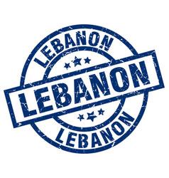 Lebanon blue round grunge stamp vector