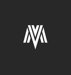 Logo mv letters elegant monogram combination vector