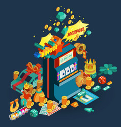 Lottery Jackpot Isometric Composition vector