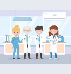 male and female physicians and nurse hospital vector image