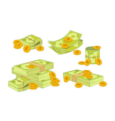 money and coins set green dollar banknotes piles vector image