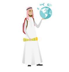 muslim traveler man holding map and globe vector image