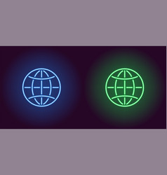 neon icon of blue and green globe vector image