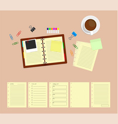 office desk table with notebooks and coffee cup vector image