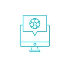 online computer soccer icon outline vector image