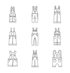 Overalls workwear icons set simple style vector