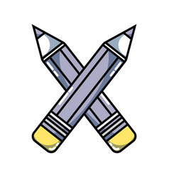 Pencils colors school tool object design vector