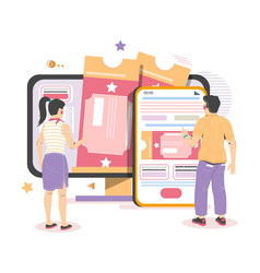 people buying cinema theater tickets from mobile vector image
