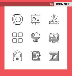 Pictograph set 9 simple outlines explosion vector