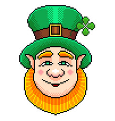 pixel st patrick portrait detailed isolated vector image