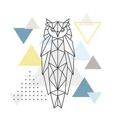 polygonal owl on abstract background vector image