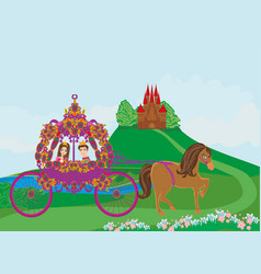 princess with prince in the carriage vector image