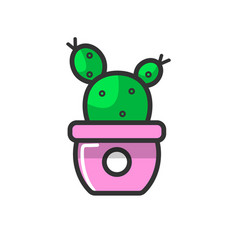 purple pot with a cactus vector image
