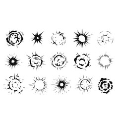 radial explosion silhouette exploding bursts vector image
