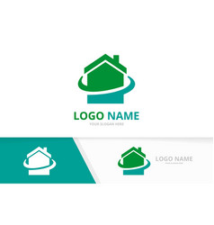 real estate logo with business card template vector image