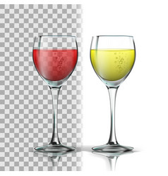 realistic glass with red and white wine vector image