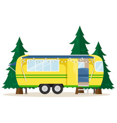 Retro house on wheels for traveling car travel vector
