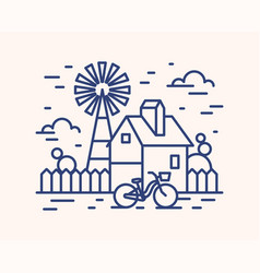 Rural house farm outline vector