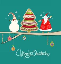 santa reindeer tree on twine green vector image