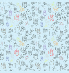 Seamless pattern outline 4 sketch on school theme vector