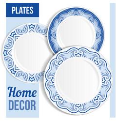 Set 3 matching decorative plates vector