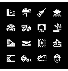 Set icons of mining vector image