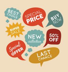 set of comic speech bubbles sale stickers vector image