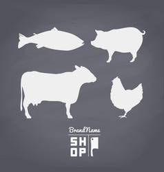 Set of meat silhouettes on vector