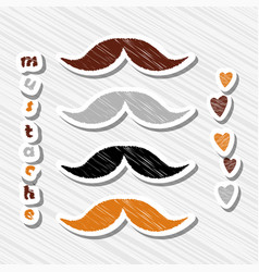 Set of mustaches on abstract background vector