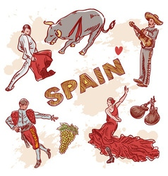 Set of Spanish symbols and traditional clipart vector image