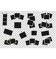 set of square frames on sticky tape pins and vector image